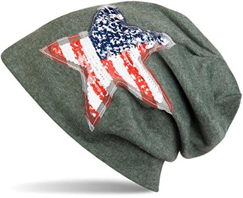 styleBREAKER Bonnet avec demande Paillettes Star USA, Stars and Stripes, unisexe 04024033 Vert