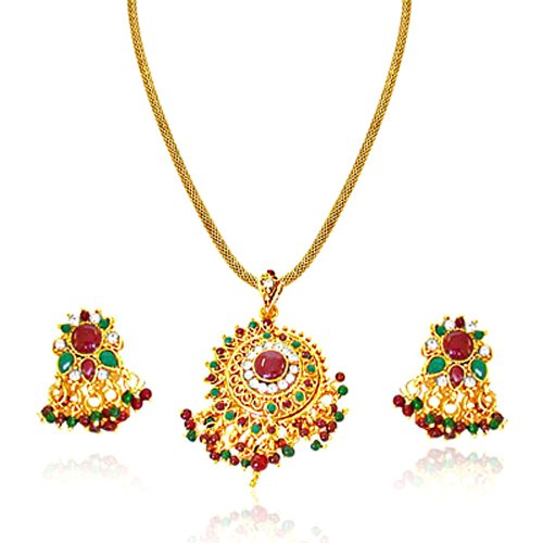 Surat Diamonds Round Rajasthani Red & Green Polki & Gold Plated Pendant Necklace & Earring Set for Women (PS6)  available at amazon for Rs.179