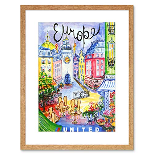 TRAVEL UNITED AIRLINE EUROPE VINTAGE BLACK FRAMED ART PRINT PICTURE B12X124 - Poster United Airlines