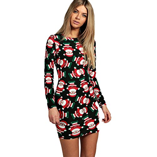 Preisvergleich Produktbild Weihnachtskostüm Weihnachtsfrauen WeihnachtskleidFrauenkleidung  JYJMMode Damen Frauen Langarm Santa Druck Weihnachten Party Schaukel Kleid (XL, Schwarz)