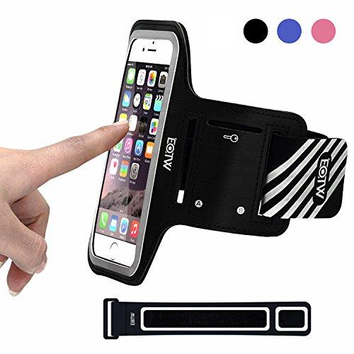EOTW iPhone 6 Armband, Sport Armband für Apple iPhone 6 6S 5 5S 5C, Samsung Galaxy S6/S5/S4/S3, Armband zum Laufen, Joggen, Trainingsraum (SCHWARZ_5.5INCH)