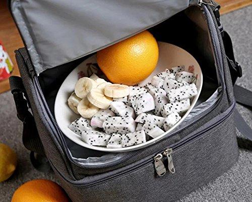 Borsa porta pranzo con manico e tracolla, fantasia a righe, a 2 piani, capacità 7 l, per picnic, scuola lavoro, viaggio Blue Blue
