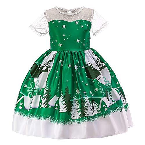 WFRAU Kleinkind Kinder Weihnachtsmann Drucken Prinzessinenkleid Baby Mädchen Weihnachten Party Spitze Patchwork Kurzarm Abendkleid Outfits Anzug für 1-7 Jahre alt