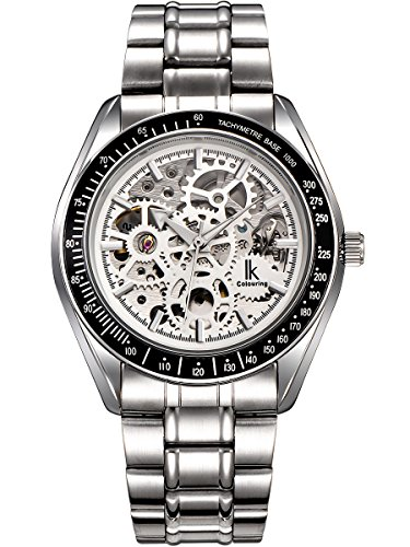 Alienwork IK Lumineux Orologio automatico Scheletro meccanico Quadrante luminoso Metallo bianco argento 98545S-S-02