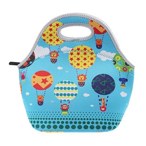 Coloré(TM) Sac Repas Lunch Bag Sac à Déjeuner Isotherme Sac chaud de récipient de nourriture de déjeuner de néoprène d'isolation thermique chaude (Bleu clair)