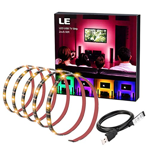 LE LED Strip, TV Hintergrundbeleuchtung, USB RGB LED Streifen, 2m Kit für 40-60 Zoll TV, 60 Stücke 5050 LEDs, ideal für Raumausstattung, Dekoration, Ambientbeleuchtung -
