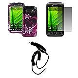 EMPIRE BlackBerry Torch 9850 9860 Purple Hearts with Fleurss Design Dur Case Étui Coque Cover Couverture + Films de protection d'écran + Voiture Chargeur (CLA)
