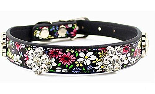 Dogs Kingdom Pet Halsbänder für Hunde Liebenswürdig, Floral Kristall Strass PET Halsbänder Designer-Halsband (Flower Dog Tag)