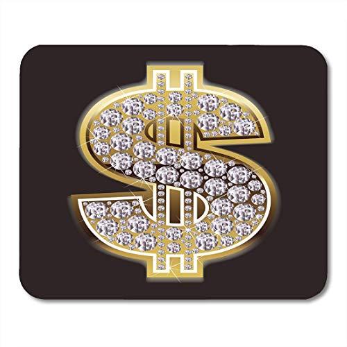 Luancrop Mauspads Bling-Dollar-Symbol im Diamanten-Zeichen-Geld-Gold-Hip-Hop-Mousepad für Laptop, Tischrechner-Zubehör Mini Office Supplies Mouse Mats