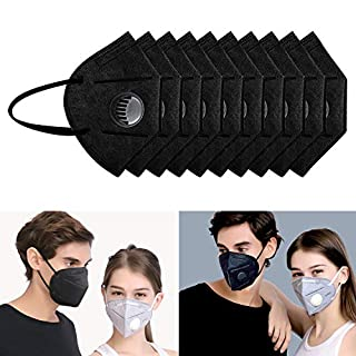 10 Pack Dust Mask Disposable, Flying swallow N95 Particulate Respirator Face Safety Masks with Exhalation Valve 7 Layer Activated Carbon Air Filter Adjustable Earloop (Black)