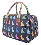 Kukubird Cute Rabbit Overnight Bag Design Tote Top-Handle Shoulder Crossbody Handbag -Dark Blue