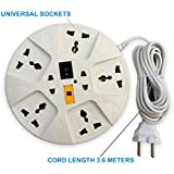 Systems Extension Board, 6 Amp Multi Plug Point Strip, Extension Cord (3.6 Meter) Length With Led Indicator & Universal Sockets - White/Blue