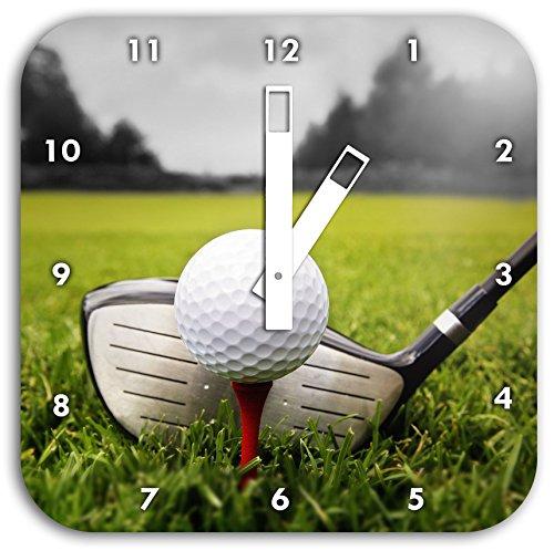 tee de golf noir / blanc, diamètre horloge murale 28cm carré avec des mains blanches et le visage,...