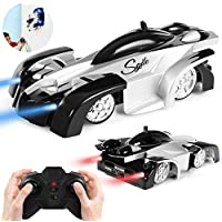 SGILE Remote Control Car Toy, Rechargeable Wall Climbing Climber Car with New Remote Control, Dual Mode 360° Rotating Stunt Car Racing Vehicle, LED Head Gravity-Defying, Gift for Kids Boy Girl Birthday