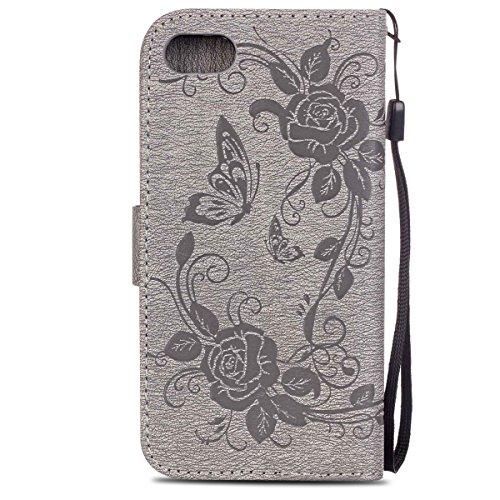 iPhone 7 Hülle, SpiritSun PU Leder Wallet Schutzhülle für Apple iPhone 7 (4.7 Zoll) Blume und Schmetterling Muster Bookstyle Design Ledertasche Case Tasche mit Standfunktion und Kredit Kartenfächer -  Grau