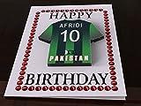 International Cricket Jersey Team Geburtstag Karten–Jeder Name, beliebige, jedes Team, kostenlose Personalisierung., damen, Pakistan International Cricket Team