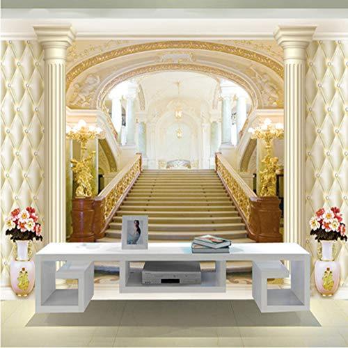Benutzerdefinierte Fototapete Europäischen Stil Palace Treppen 3D Erweitern Raum Moderne Wohnzimmer Hintergrund Wandbild-200(W) x 140(H) cm -