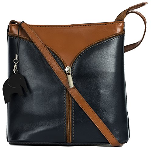 Big Handbag Shop Borsetta piccola a tracolla, vera pelle italiana Navy - Tan Trim