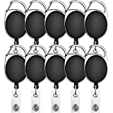 RangTeq Retractable Oval Badge with Key Chain ID Holder (Black), Pack of 10