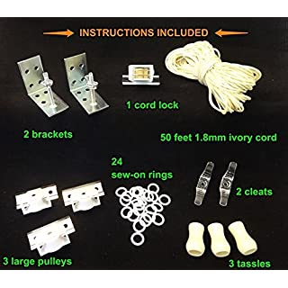 Amazing Drapery Hardware All-in-One ROMAN SHADE HARDWARE KIT, in IVORY (for shades up to 48 inches wide)