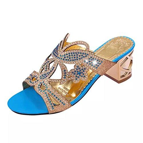 Frauen Schuhe Flip-Flops Sommer Strass High Heel Slip On Frauen Slipper Schwarz Blau Flip Flops Sky Blue 6