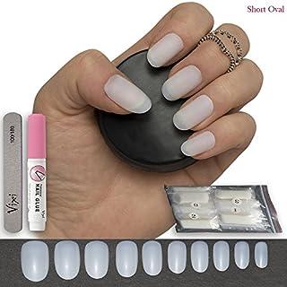 Künstliche Nägel, 600 Stück, kurz und oval, 10 Größen, naturfarben, undurchsichtig, zur Verwendung im Schönheitssalon oder Zuhause, DIY-Nagelkunst, inklusive Kleber und kleiner Nagelfeile