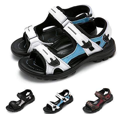 Gracosy Sandales de Sports Femmes Filles, Chaussures de Randonnée Été Plates en Cuir à Scratch Réglable Confortable pour Marche Trekking Pieds Larges , Azur, 38 EU