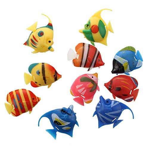 SODIAL(R) 10X Schwimmende Kuenstlich Deko Fisch Ornament Dekoration fuer Aquarium Fish Tank (Tank Dekoration Fisch Schwimmenden)
