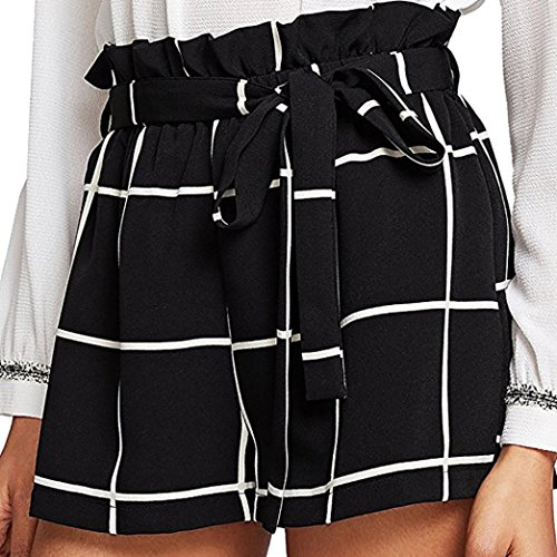 (BakeLIN Damen Shorts Casual Streifen Plaid Drucken Kurze Hose Lose Strand Sport Hot Pants (S~XL, Blau Rose rot Schwarz Weiß Grau) (S, Schwarz))