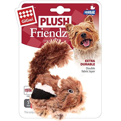 GiGwi 6259 Robustes Hundespielzeug Plush Friendz Streifenhörnchen ohne Füllung, mit doppelter Gewebelage und Quietscher, aus Plüsch - 5