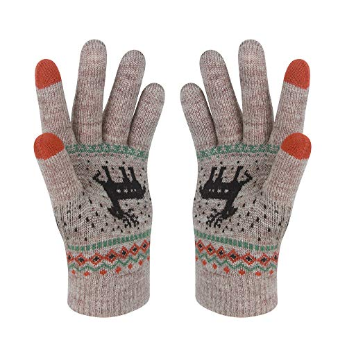 VENI MASEE Frauen Schöne Candy Farbe Keep Warm Strickwolle Touchscreen Handschuhe - Khaki