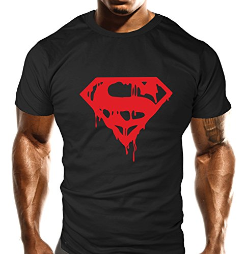 New Mens Evil Red Drip Gym T-Shirt - Training Top - Sports - Bodybuilding Casual Loose Fit Top (Large)