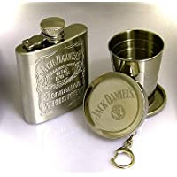 Jack Daniels Hip Flask with Collapsible Cup