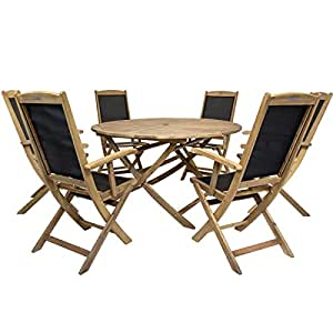 charles bentley gartenm bel set aus akazienholz 1 runder tisch 6 klappst hle. Black Bedroom Furniture Sets. Home Design Ideas