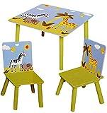Unbekannt 3 TLG. Set: Sitzgruppe / Sitzgarnitur für Kinder - sehr stabiles Holz -  Zootiere - Zebra & Giraffe  - Tisch + 2 Stühle / Kindermöbel für Jungen & Mädchen -..