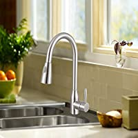 Monise Commercail Single Hand Put out Kitchen Faucet ,304 Stainless Steel Arc Sprayer Kitchen Sink Faucet Saint Finshed Lead -Free