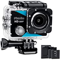 Piwoka Sports Action Camera 1080P, Ultra HD 12MP Waterproof Cam, 170° Wide Angle Underwater Camcorder with 2 Batteries, Battery Charger and Mounting Accessories