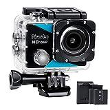 Piwoka Action Camera Subacquea 1080P, Sports Fotocamera Impermeabile Ultra HD 12MP, Videocamera Grandangolare 170 ° con 2 Batterie, Caricabatterie e Accessori di Montaggio