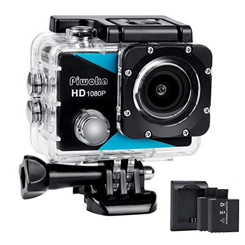 Piwoka Sport Kamera 1080P, Ultra HD 12MP Wasserdicht Action Cam, 170 ° Weitwinkel Unterwasser Action Sports Camera Camcorder mit 2 Akkus, Ladegerät und Kostenlose Zubehör Kits