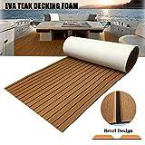 Yuanjiasheng 90x240cm Schiuma per Pavimento in Teak Marrone Eva per Barche con Supporto Adesivo Antiscivolo Strisce per scanalature smussate Barche Tappetino per Manutenzione