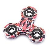 Fidget Spinner Antistress per bambini e adulti - Cuscinetto in ceramica ad alta velocità Si3N4 - Rotazione da 1 minuto - Giocattolo sensoriale Tri-Spinner Fidget Toy(Rosso Camuffare)