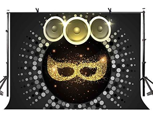 EdCott 7x5ft Kulisse Schwarzes Gold Maske Fotografie Kulisse Maskerade Party Portrait Fotografie Hintergrund Fotostudio Requisiten LYZY061 (Maskerade Masken Weiß Gold Und)