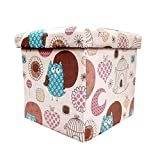 Sterling Foldable Cotton Ottoman Storage Box Cum Stool - with Owl Pattern Foldable