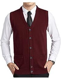 FULIER Chaleco de punto con cuello en V sin mangas de lana para hombre  Chaleco de 2aca41845d5c4