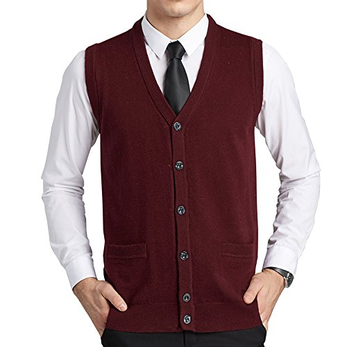 FULIER Mens Wool V-Neck Gilet Sleeveless Vest Waistcoat Classic Gentleman Knitwear Cardigans Knitted Sweater Tank Tops With Buttons (Large, Red)