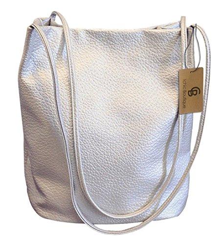 Eimer Tasche Damen Handtasche Leder Schultertasche Umhängetaschen Beutel,Silber