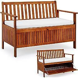 DEUBA GmbH & Co. KG. Banc de jardin pour 2 personnes en bois imperméable Coffre de rangement et coussin inclus