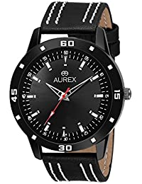 Aurex Analouge Black Dial Watch Water Resistant Black Color Strap Watches For Mens/Boys (AX-GR144-BKB)