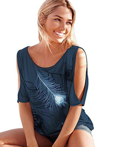 Liqy Womens Summer Feather Print T Shirt Off Short Sleeves Top T-Shirt Blouse,Strapless Short Sleeve,Bat Shirt