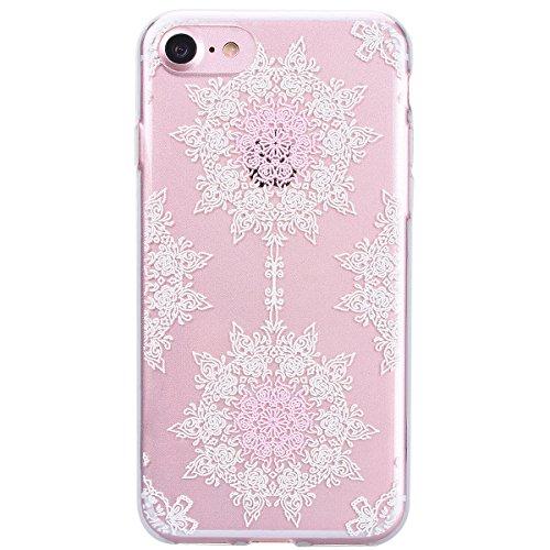 Yokata iPhone 7 Hülle Transparent Weich Silikon TPU Case Handyhülle Schutzhülle Durchsichtig Clear Backcover Bumper mit Color Kreisel Muster + 1 x Kapazitive Feder Blume